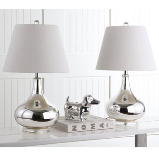 Safavieh Lighting 24-inches Amy Gourd Glass Silver Table Lamps (Set of 2)