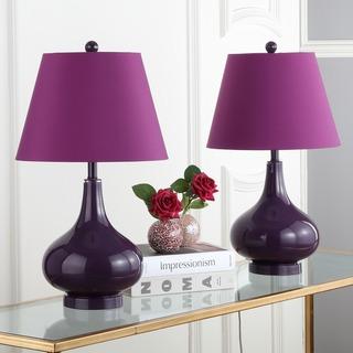 Safavieh Lighting 24-inch Amy Gourd Glass Dark Purple Table Lamps (Set of 2)