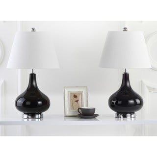 Safavieh Lighting 24-inches Amy Gourd Glass Black Table Lamps (Set of 2)