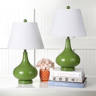 Safavieh Lighting 24-inches Amy Gourd Glass Green Table Lamps (Set of 2)