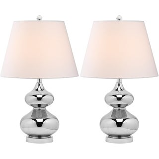 Safavieh Eva Double Gourd Glass Silver 1-light Table Lamps (Set of 2)