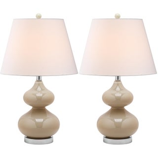 Eva Double Gourd Glass Taupe 1-light Table Lamps (Set of 2)