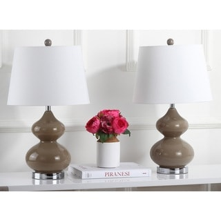 Safavieh Lighting 24-inch Eva Double Gourd Glass Taupe Table Lamps (Set of 2)
