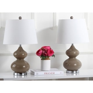 """Safavieh Lighting 24-inch Eva Double Gourd Glass Taupe Table Lamp (Set of 2) - 14""""x14""""x24"""""""