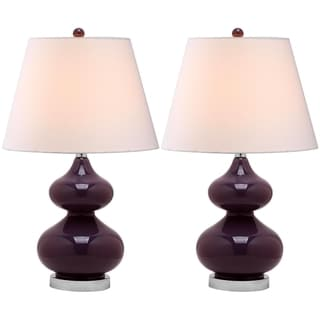 Safavieh Eva Double Gourd Glass Dark Purple 1-light Table Lamps (Set of 2)