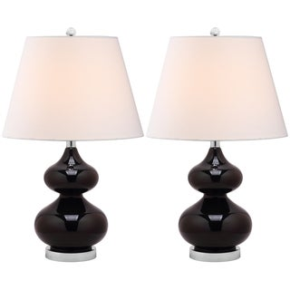 Eva Double Gourd Glass Black 1-light Table Lamps (Set of 2)