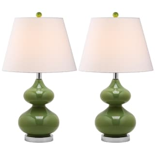 Safavieh Eva Double Gourd Glass Green 1-light Table Lamps (Set of 2)