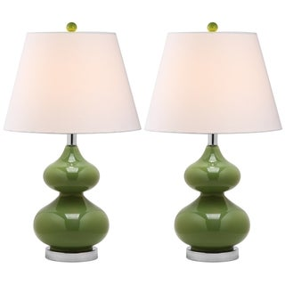 Eva Double Gourd Glass Green 1-light Table Lamps (Set of 2)