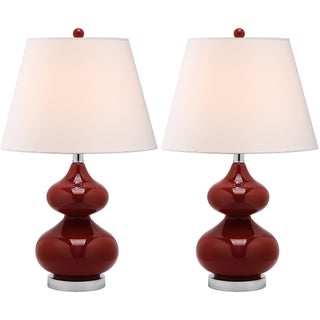 Eva Double Gourd Glass Red 1-light Table Lamps (Set of 2)