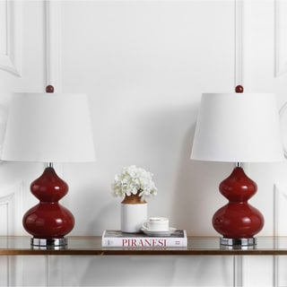 Safavieh Lighting 24-inches Eva Double Gourd Glass Red Table Lamps (Set of 2)