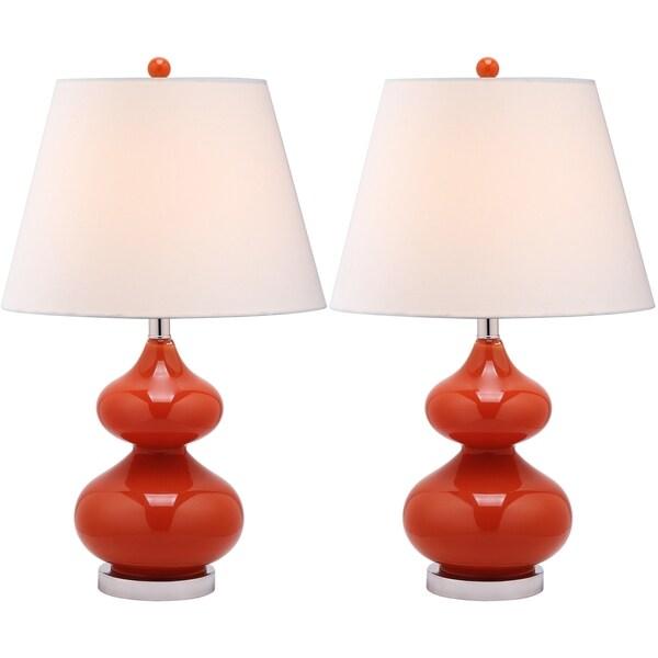 Safavieh Eva Double Gourd Glass Orange 1-light Table Lamps (Set of 2)