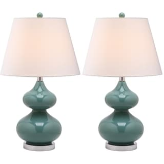 Safavieh Eva Double Gourd Glass Marine Blue 1-light Table Lamps (Set of 2)