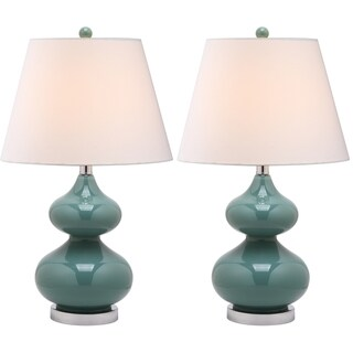 Eva Double Gourd Glass Marine Blue 1-light Table Lamps (Set of 2)