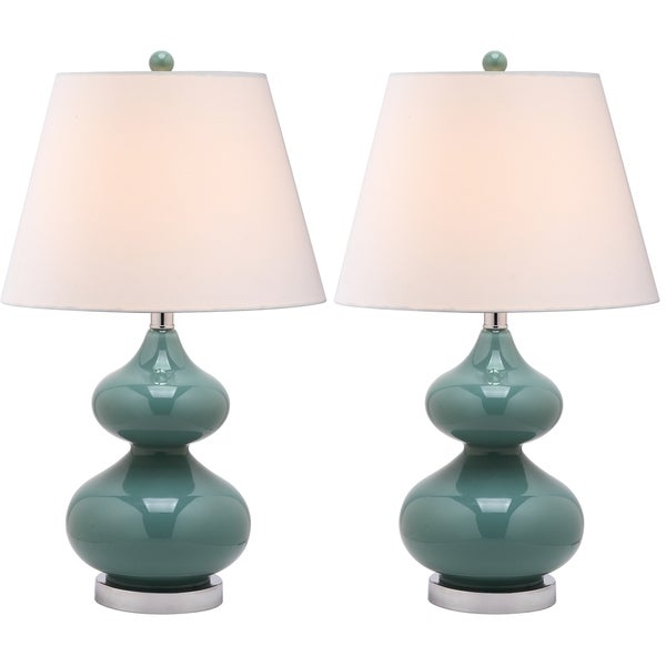 lighting 24 inch eva double gourd glass green table lamps set of 2. Black Bedroom Furniture Sets. Home Design Ideas