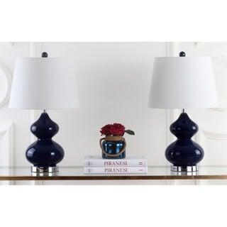 Safavieh Lighting 24-inches Eva Double Gourd Glass Navy Table Lamps (Set of 2)