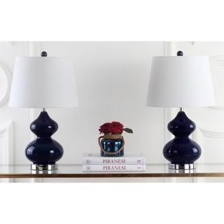 Safavieh Lighting 24-inch Eva Double Gourd Glass Navy Table Lamps (Set of 2)