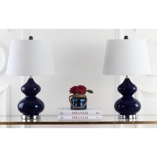 "Safavieh Lighting 24-inch Eva Double Gourd Glass Navy Table Lamp (Set of 2) - 14""x14""x24"""