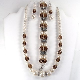 Off White Glass Pearl and Smoky Quartz Jewelry Set