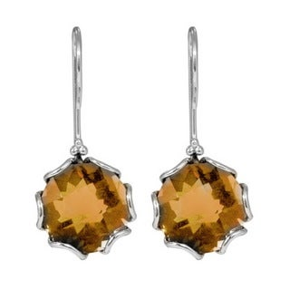 Sterling Silver Bali Faceted Citrine Dangle Earrings (Indonesia)