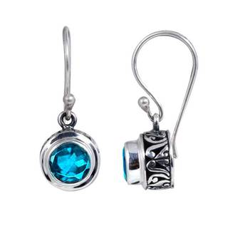 Sterling Silver Bali Faceted Blue Topaz Dangle Earrings (Indonesia)