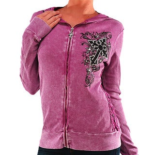 Vocal Women's Rhinestone Cross Accent Zip-up Top