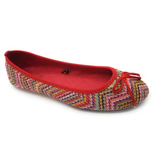 Blue Women's 'Misha' Red Print Ballet Flats