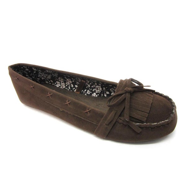 Blue Womans 'Pocca' Brown Moccasin Flats
