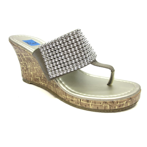 Blue Women`s 'Joey' Pewter Rhinestone Embellished Wedge Sandals