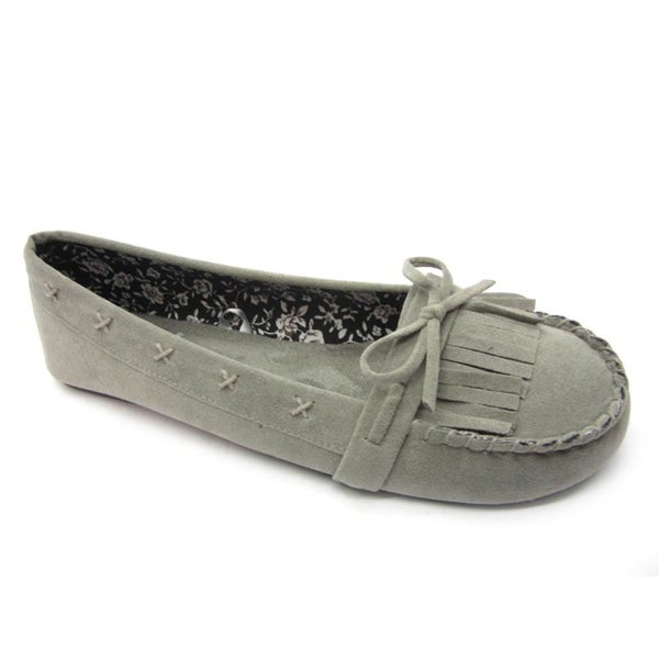 Blue Womans 'Pocca' Grey Moccasin Flats