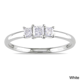 Miadora 14k Gold 1/3ct TDW Diamond 3-stone Ring (G-H, I1-I2) with Bonus Earrings