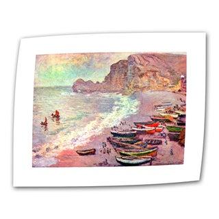 Claude Monet 'Cliffside Boat' Flat Canvas Art