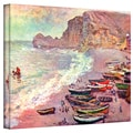 Claude Monet 'Cliffside Boats' Wrapped Canvas