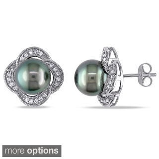 Miadora 10k Gold Tahitian Pearl and 1/4ct TDW Diamond Earrings (H-I, I2-I3)