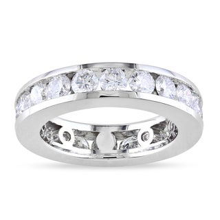 Miadora 14k White Gold 3ct TDW Round-cut Diamond Eternity Ring (G-H, I1-I2)
