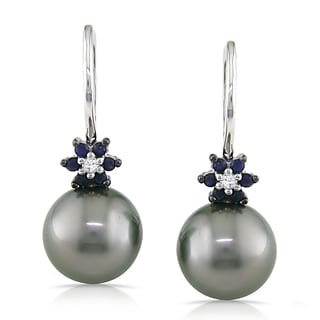Miadora 10k Gold Tahitian Pearl, Sapphire and Diamond Earrings