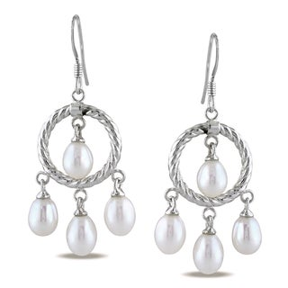 M by Miadora Sterling Silver White Pearl Dangle Earrings (5-5.5 mm)