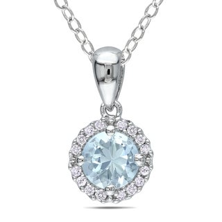 Miadora Silver Aquamarine and 1/10ct TDW Diamond Necklace (H-I, I2-I3)