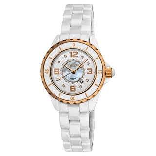 Akribos XXIV Women's Ceramic Quartz Date Diamond Fashion Watch