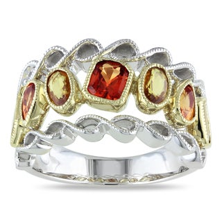 Miadora Signature Collection 14k Two-tone Gold Orange and Yellow Sapphire Ring