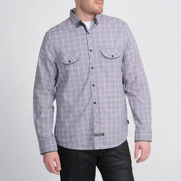 English Laundry Men's Purple Plaid Shirt