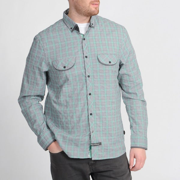 English Laundry Green Plaid Button-front Shirt