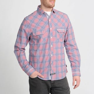 English Laundry Men's Red Plaid Button-front Shirt