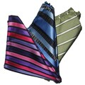 Dmitry Men's Silk Purple/Blue/Light Green Pocket Squares (Pack of Three)