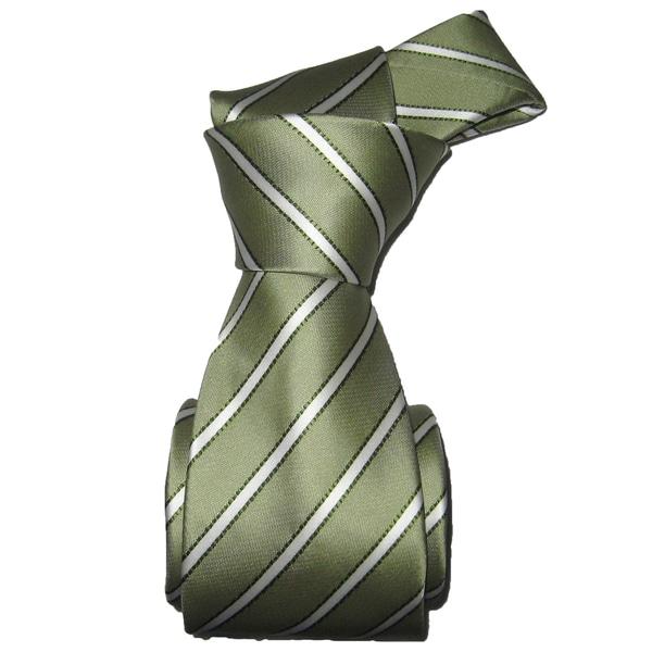 Dmitry Men's Italian Light Green Striped Silk Tie