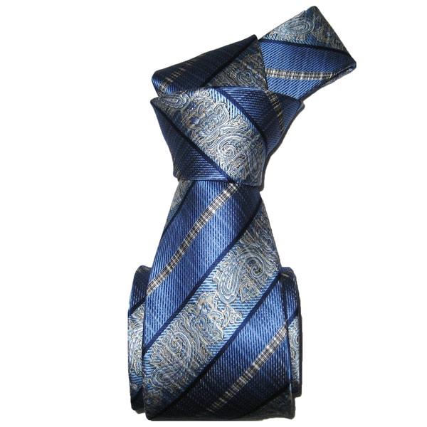 Dmitry Men's Italian Light Blue Striped Silk Tie