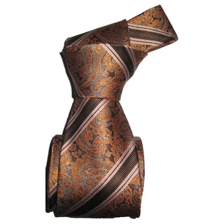 Dmitry Men's Italian Brown Paisley Striped Silk Tie