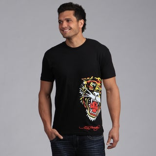 Ed Hardy Men's Black Tiger Graphic Tee Shirt