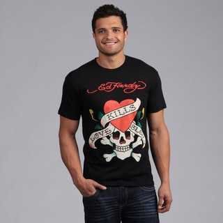 Ed Hardy Men's Black 'Love Kills Slowly' Graphic Tee Shirt