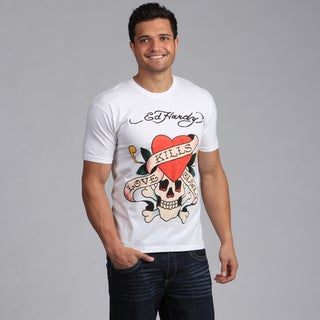 Ed Hardy Men's White 'Love Kills Slowly' Tee Shirt