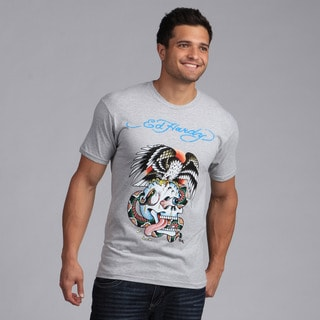 Ed Hardy Men's Grey Eagle and Skull Tattoo Print Tee Shirt